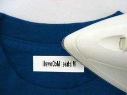 100 Personalized Pre-Cut Iron On Clothing Name Labels / Tags