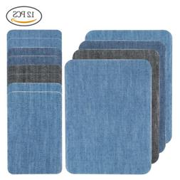 12pcs 4 Color DIY Iron on Denim Fabric Patches for Clothing