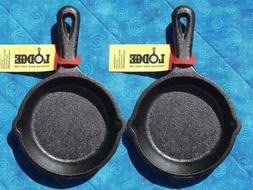 2 Lodge LMS3 3.5 inch Cast Iron Mini Skillet / Spoon Rest /
