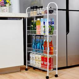 3/4 Tiers Kitchen Bottles Storage Cart Slide Tower Rack Home