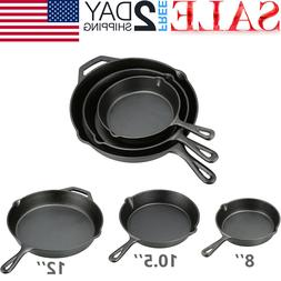 3 CAST IRON SKILLET Pre Seasoned 8 10.5 12 Inch Stove Oven F