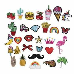 30-Piece Iron/Sew on Assorted Applique Patches For DIY Hats