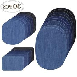 COCESA 30pcs Iron on Denim Fabric Patches Clothing Jeans Rep