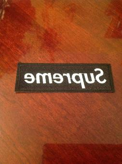 "4.5"" SUPREME IRON ON PATCH BLACK COLOR Embroidered FREE SHIP"