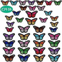 40pcs Butterfly Iron on Patches 2 Size Embroidered Sew Appli
