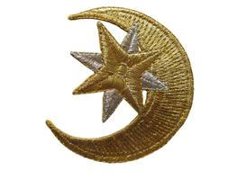 #5005 Golden Moon,Golden,Silver Star Embroidery Iron On Appl