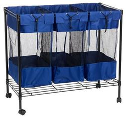 Household Essentials 7119 Rolling Triple Laundry Sorter on W