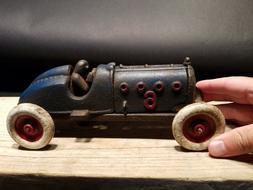 Antique Vintage Style Blue Cast Iron #6 Toy Race Car w Lifti