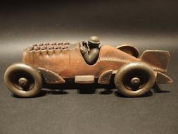 Antique Vintage Style Cast Iron Toy Race Car w Moving Piston