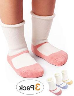 BabaMate 3 Pairs Winter Terry Cotton Baby Socks - Cute Newbo