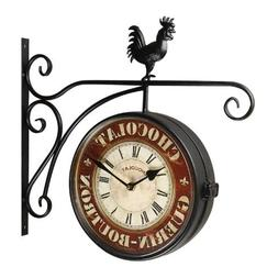 """Adeco Black Iron Round """"Chocolate"""" Double-Sided Wall Hanging"""
