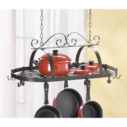 Black Wrought iron Hanging home Pot Rack pan hook shelf Hold