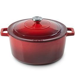 VonShef Cast Iron Round Dutch Oven Pot Casserole Dish, Natur