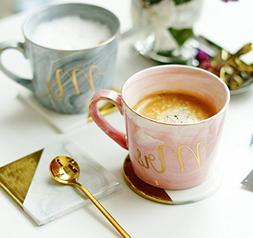 Coffee Mug Set: Mr. and Mrs. Marble colored ceramic mugs, Se