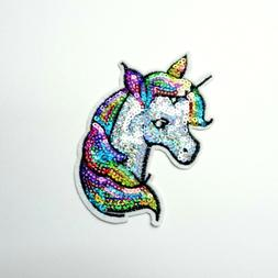 Colorful Sequin Unicorn Patch, Embroidered Iron-On/Sew-On Ap