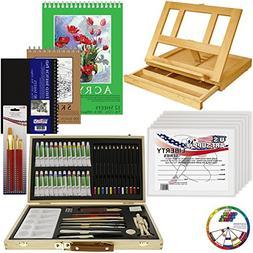 US Art Supply 68-Piece Custom Artist Acrylic Painting Set wi