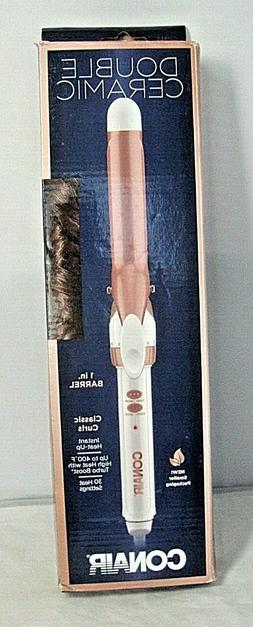 Conair Double Ceramic Curling Iron; 1-inch Curling Iron; Whi