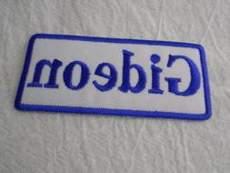 GIDEON  NEW EMBROIDERED SEW / IRON ON NAME PATCH BLUE ON WHI