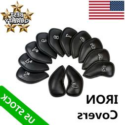 Golf Iron Club Head Covers 12 Pcs 3-Sw Pu Leather Pack Color