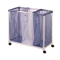 Honey-Can-Do HMP-01629 3 Bag mesh Laundry sorter, Blue/White