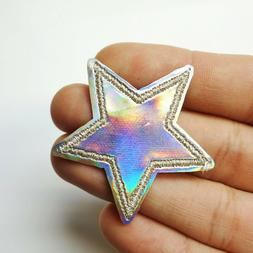 Holographic Silver Star, Iridescent Iron-On/Sew-On Embroider