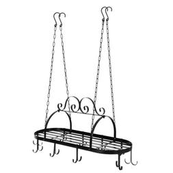 Home Kitchen Iron Pot Rack Pan Hanger 10 Hooks Arranged Desi