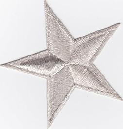Iron on Patch Embroidered Patches Application Silver Star Bi