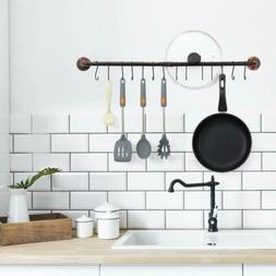 Iron Pipe Wall Mount  Hanging Utensil Holder Pot Rack with 1