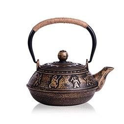 JUEQI Japanese Cast Iron Teapot Kettle with Stainless Steel