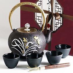 Japanese Iron Tea Set 8 Pieces - Teapot  + Lid + 4 Iron Cups