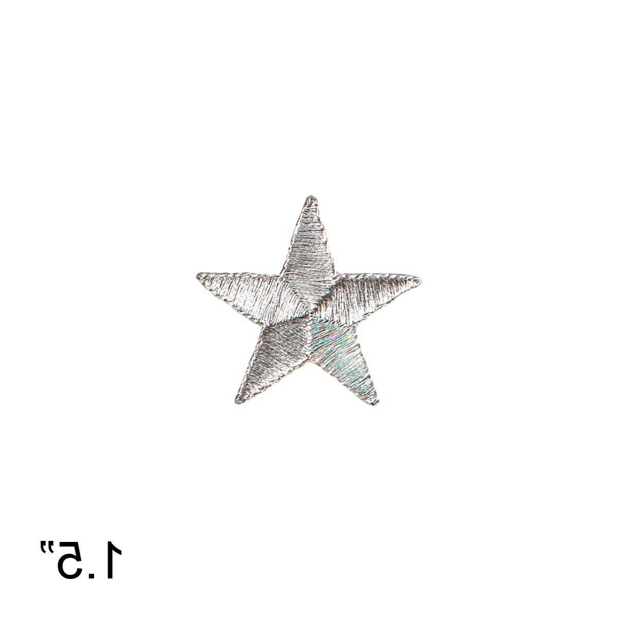 1 1/2 INCH Silver Star Embroidered Iron On Patch - Sky Moon