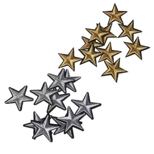 10 Pcs Gold Star Embroidered Badges Iron On Patches Clothing