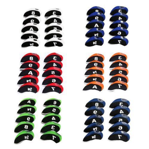 10pcs neoprene golf club iron head cover