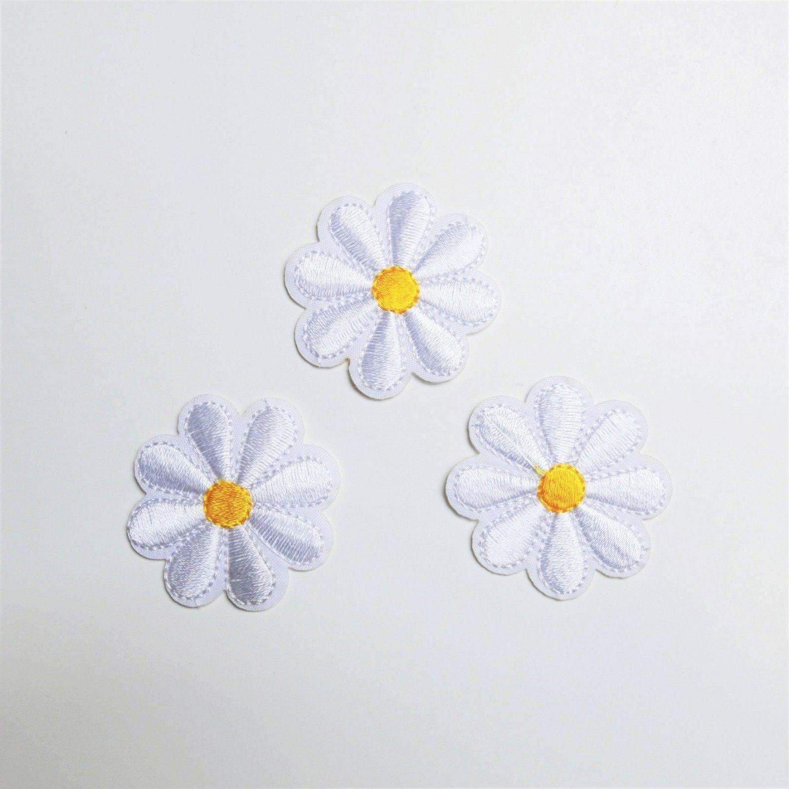 3x daisy flower patch iron on sew