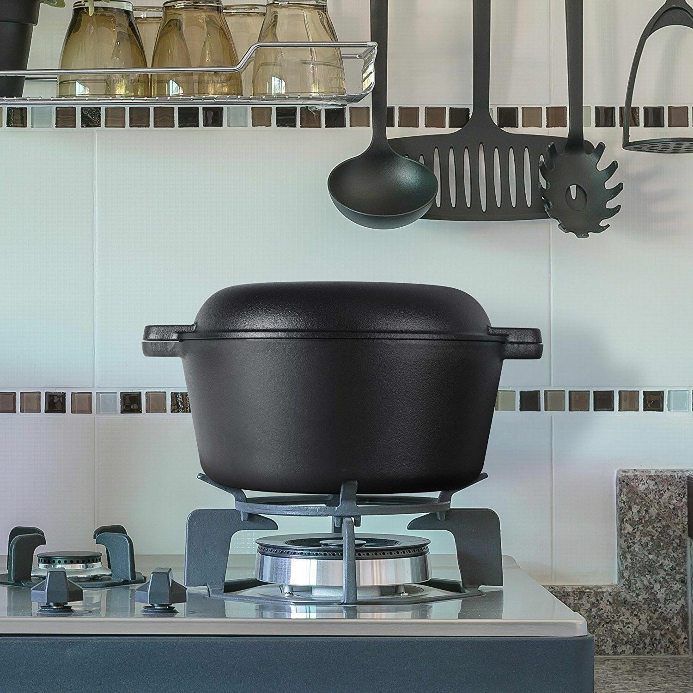 5 Qt Cast Iron Dutch Oven Deep Fryer Skillet Pre-Seasoned Po