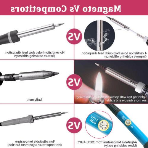 60W 110V Temperature Electric Welding Gun Tool Kit w/