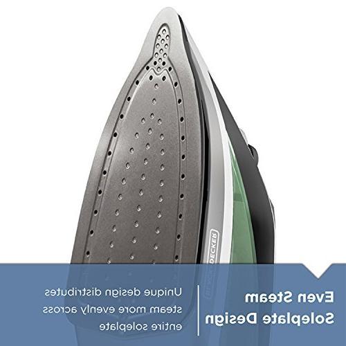 BLACK+DECKER Advanced Iron with Cord, Nonstick Soleplate, Sage,