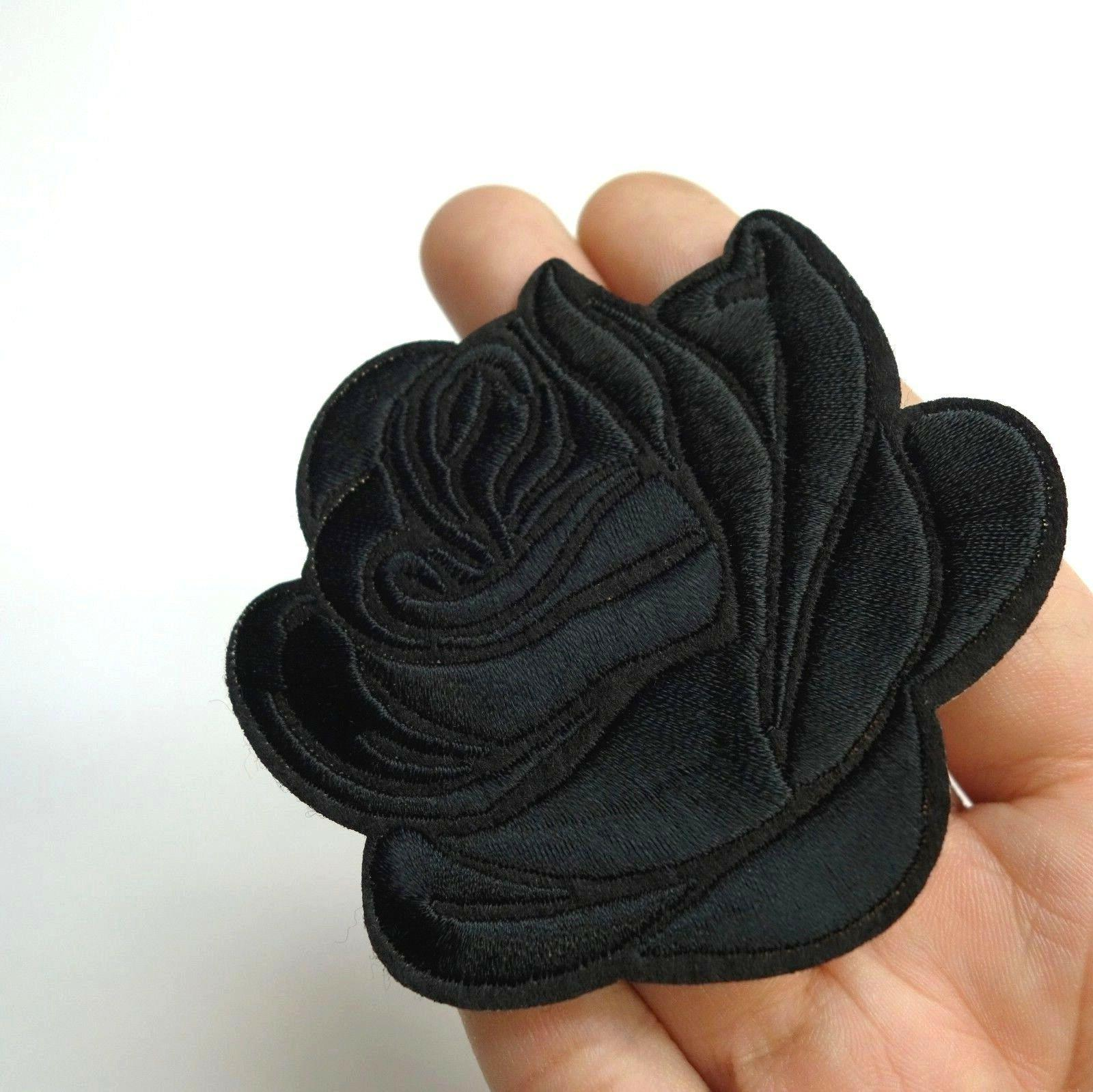 Black Rose Iron-On/Sew-On Embroidered Patch, Applique Motif