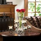 CANDLE HOLDER: SCROLLWORK Black Iron Stand with Glass Center