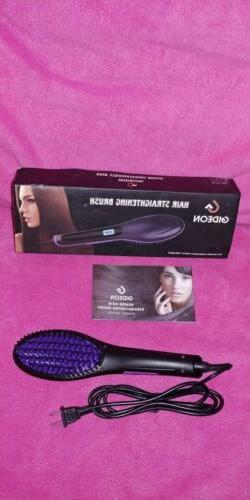 ceramic Heated Hair Brush Straightener Flat Comb