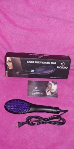 ceramic heated hair brush straightener flat iron