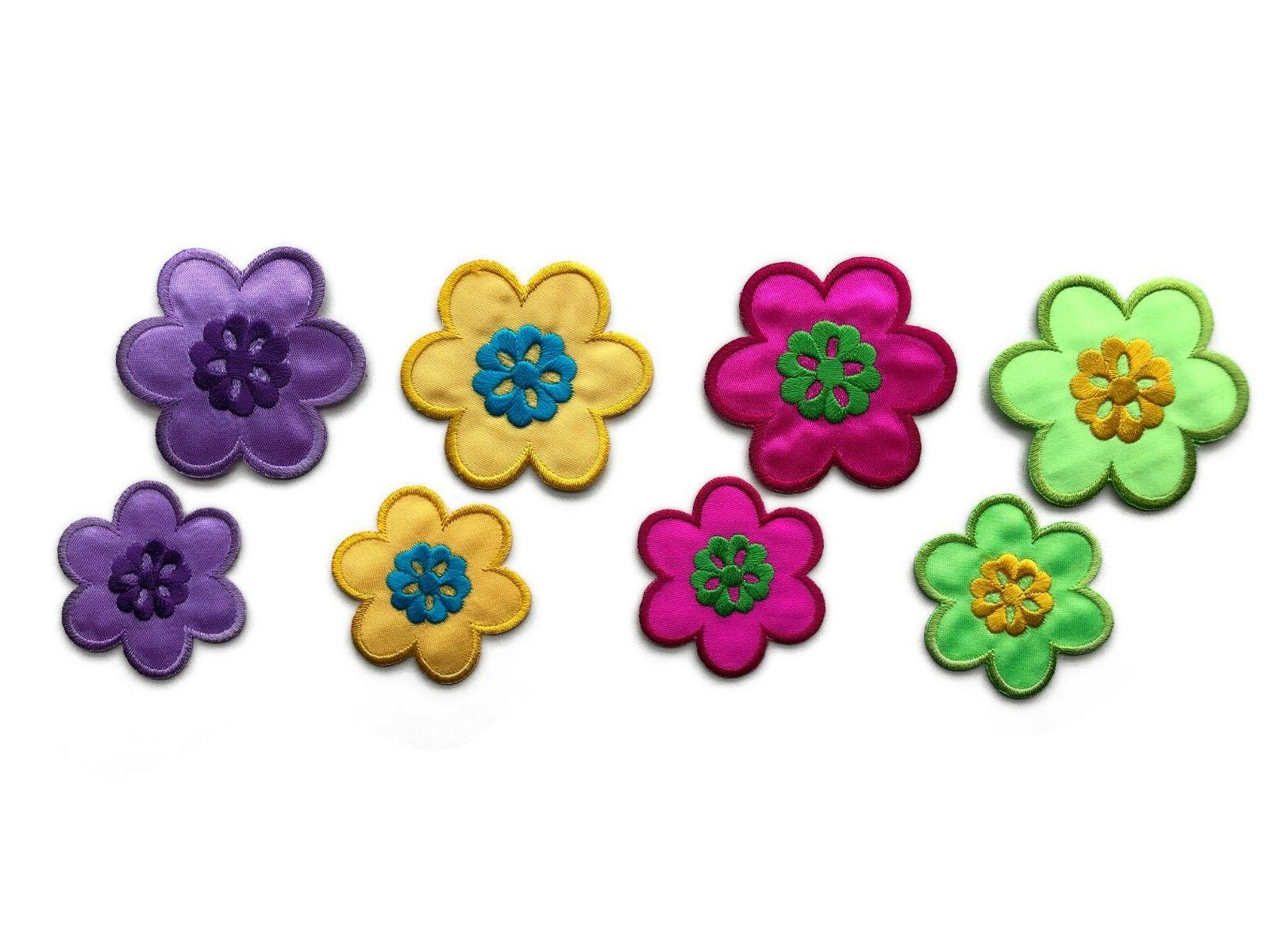 colorful flowers with embroidered details iron on