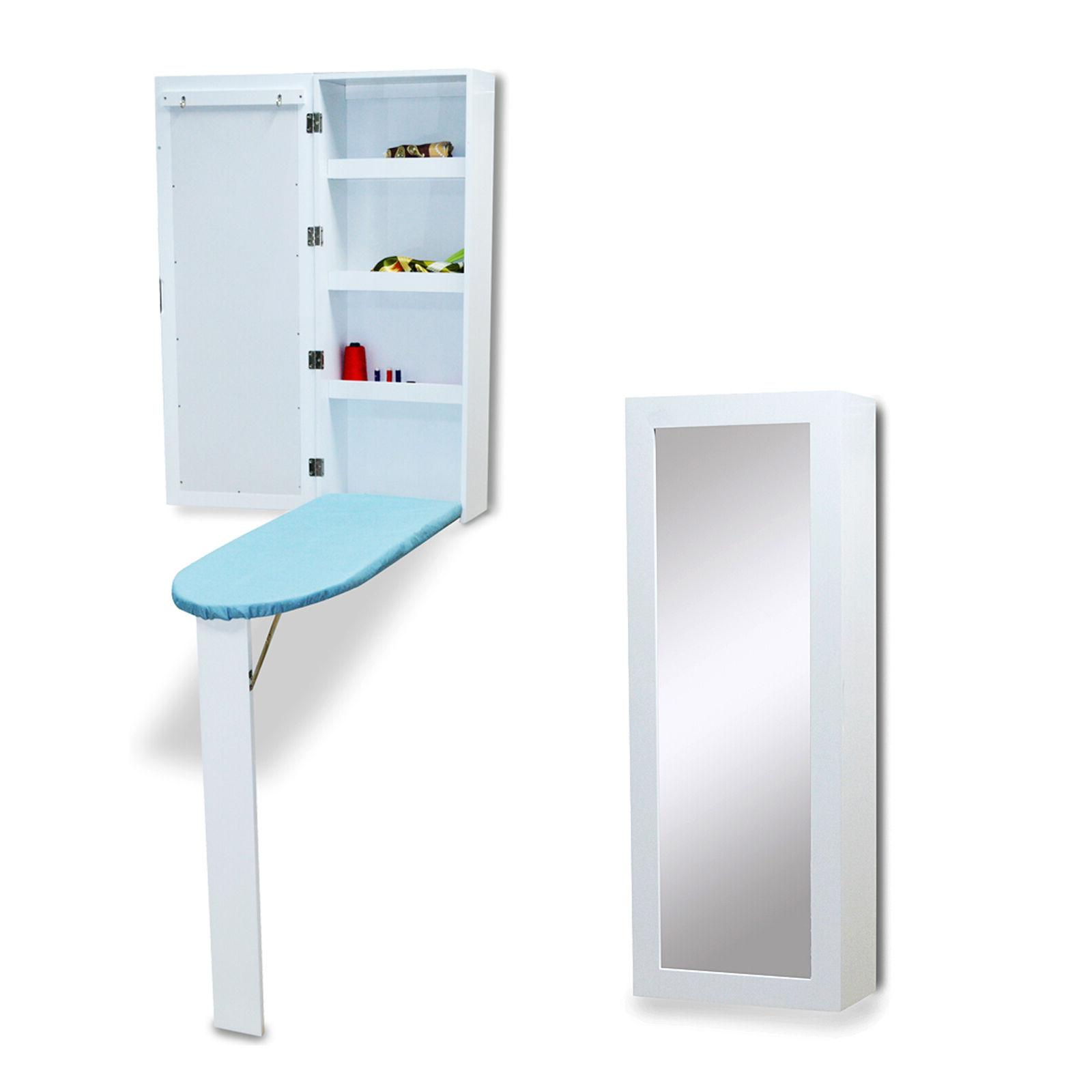 Ironing Board Cabinet Organizer with Storage and Mirror Hide
