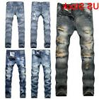 Men's Moto Ripped Distressed Jeans Slim Fit Tapered Leg Patc