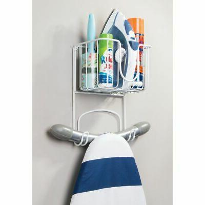 mDesign Metal Wall Ironing Board Holder with Small Storage Basket