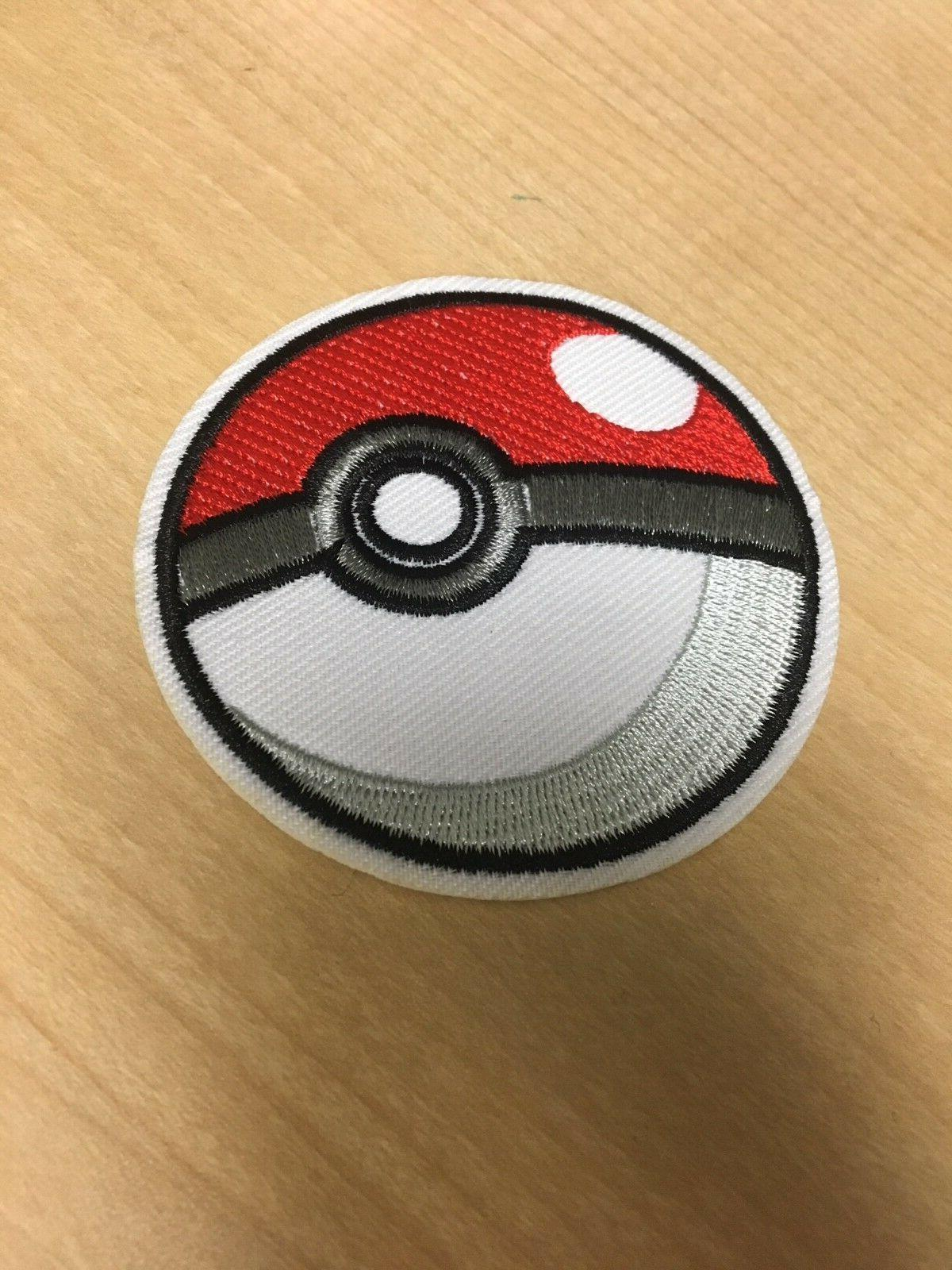 pokemon pokeball embroidered iron sew on patch
