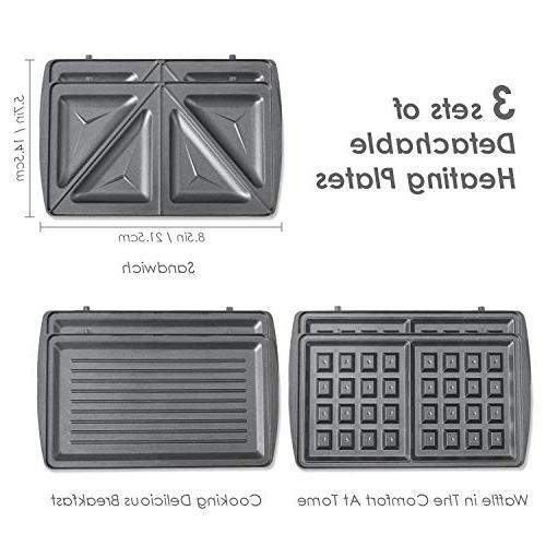 Aicok maker, Sandwich toaster, 3-in-1 Detachable Non-stick Coating, LED Lights, Black