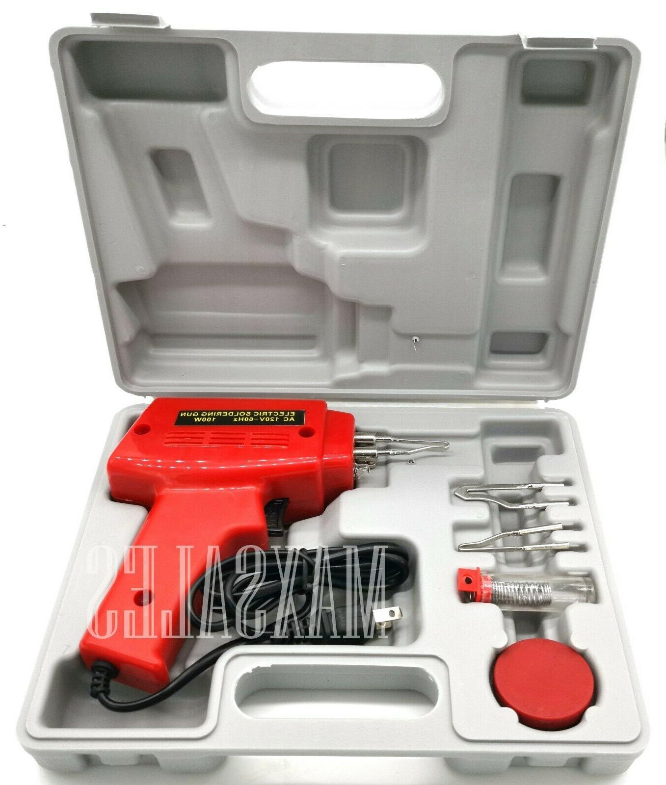 New 5pc 100W Soldering Gun Kit w/Case Iron Solder Profession