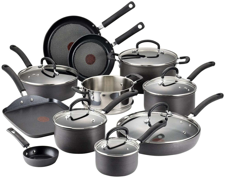 T-fal Hard Anodized Cookware Set, Nonstick Pots and Pans Set