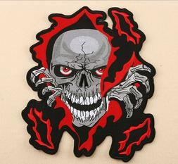 LARGE SIZE Fire Flame Head Death Skull Sew Iron on Patch B04